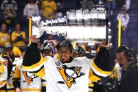 NASHVILLE, TN - JUNE 11: Marc-Andre Fleury #29 of the Pittsburgh Penguins celebrates with the Stanley Cup Trophy after defeating the Nashville Predators 2-0 in Game Six of the 2017 NHL Stanley Cup Final at the Bridgestone Arena on June 11, 2017 in Nashville, Tennessee. (Photo by Frederick Breedon/Getty Images)